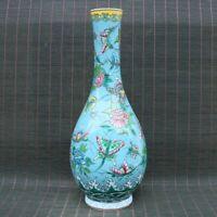 Chinese Handmade Vintage porcelain Cloisonne Flower&butterfly Vase 00311