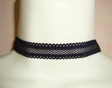 FAB BLACK LACE STRETCH ELASTIC FABRIC MOULIN ROUGE BURLESQUE CHOKER NECKLACE