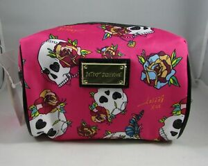 Betsey Johnson Skulls Floral Cosmetic Bag Small Makeup Case Fancy Skulls NWT