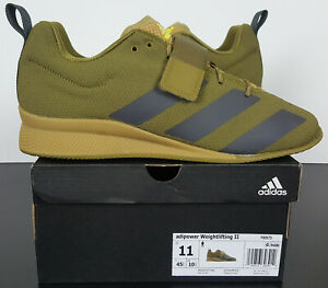 ADIDAS ADIPOWER WEIGHTLIFTING II GYM SHOES MOSS GREEN BLACK NEW FX0573 (SIZE 11)