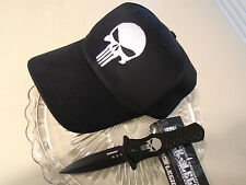 Black Legion Assisted Open Punisher Stiletto Pocket Knife Adjustable Hat Set New