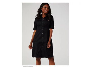 Nina Leonard Elbow Sleeve Button Up Stretch Denim Dress Black Large BNWT