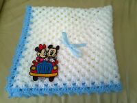 Hand Crochet Baby Blanket Mickey and Minnie Mouse theme