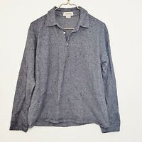 J. Crew Blue Gray Cotton Long Sleeve Polo Men's Size Large