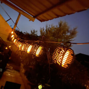 Solar LED String Lights Hanging Flame Lantern Lamps Outdoor Party Garden Decor