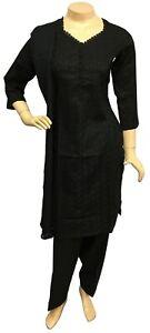 Pakistani Indian Black Cotton Suit, Chikan Embroidered Salwar Kameez Shalwar