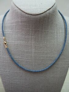 14k Milor Italy Oval Lobster Clasp w/ 3mm Blue Fabric Cord Necklace 18 Inch