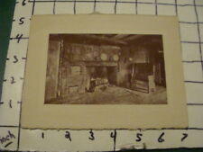 vintage print -- INSIDE EARLY HOUSE, KITCHEN HARTH AND WOOD BENCH unsigned 5x7""