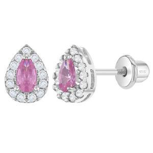 925 Sterling Silver CZ Pink Clear Teardrop Screw Back Earrings Young Girls Teens