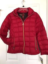 Michael Kors Womens Packable Down Puffer Jacket-Coat-Removable Hood-Red-Medium