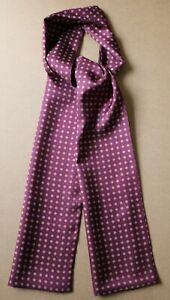 "Burgundy, blue & ecru Millefiori hand printed silk scarf 65"" x 9.5"" Hand made"
