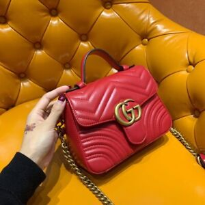 Authentic Bag,Gucci Marmont Red Leather, Used, Perfect Condition, Free Shipping
