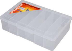 STORAGE BOX Clear Medium 6 Compartment 200x160x48mm Fischer 1H-038