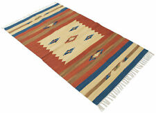 180X120 Cm Kilim Autentico In Cotone Lavabile In LAVATRICE  INDIAN MADE (804206)