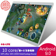 Black 10.1 Tablet PC 4G-LTE GPS Android 9.0 8G+128GB Core bluetooth WIFI HD IPS