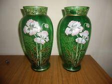 Paire de vases en verre émaillé art nouveau  Legras , Montjoye ?