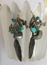 VTG Southwest Feather Turquoise Heart Peace Rose Charm Pierced Dangle Earrings