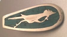 """Roadrunner W/ Inlay Turquoise Mosaic 1.5"""" Vintage Sterling 925 Spring Tie Clip"""