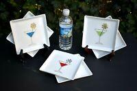 """Set #6 Crate Barrel SQUARE Martini Appetizer Plate 6"""" w Silver Snowflake Swizzle"""