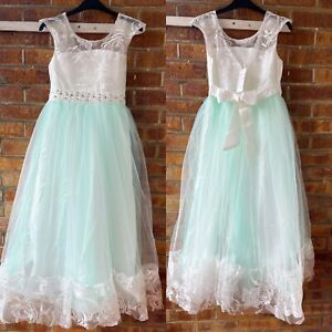 Kids Children Girls Lace Princess Party Wedding Gown Prom Bridesmaid Dress
