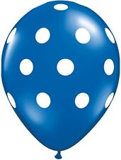 "10 pc - 11"" Qualatex Big Polka Dot Blue Latex Balloon Party Decoration Dots"
