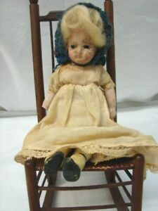 "ANTIQUE 1800S BROWN GLASS EYES WAX OVER PORCELAIN? 8 1/4"" DRESSED DOLL"