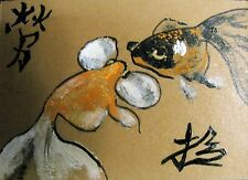 """A276 ORIGINAL ACRYLIC ACEO PAINTING BY LJH  """"TWO GOLDFISH"""""""