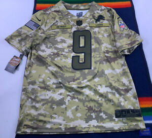 New Nike Salute to Service Detroit Lions Matthew Stafford Jersey Camo NFL Large