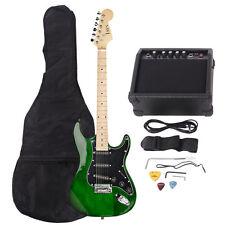 New 22 Frets ST Burning Fire Green Electric Guitar +Bag +15 AMP Guitar Amplifier
