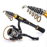 Telescopic Fishing Rod and Fishing Reel Wheel Portable Travel Spinning Combo