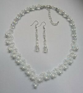 """white rondelle pearl bead necklace set bridal 17"""" womens earrings  wedding"""