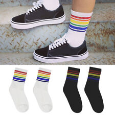 Fashion Women Girls Rainbow Striped Skateboard White Ankle-High Socks Cotton