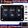 3 Gang LED Wippschalter Schaltpanel Schalttafel DC12-24V Schalter Auto Boot RV