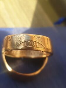 One Penny Coin Ring 1901 Size V