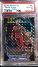 2017-18 Panini Prizm Mosaic Green Prizm LeBron James #80 Cavs Lakers PSA 10 👑📈