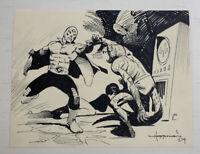 MIKE HOFFMAN ORIGINAL INK SKETCH OF MASKED LUCHADOR HERO VS. MONSTER 2014