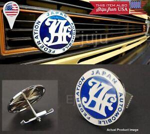 Japan Automobile Federation JDM JAF Blue Emblem Badge For Nissan Front Grille