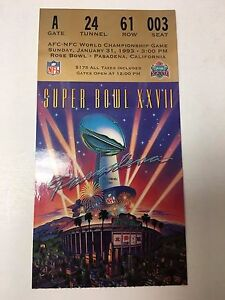 SUPER BOWL XXVII TICKET STUB BUFFALO BILLS VS DALLAS COWBOYS ROSE BOWL NFL FOOTB