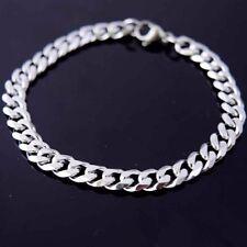"Women/Men Stainless Steel Bracelet 8.2""7mm Chain Curb Link Charm Costume Jewelry"
