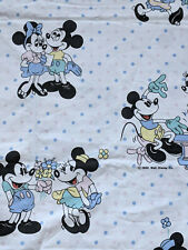 Vtg 80s Disney Mickey Minnie Mouse Duvet Cover Kids Baby Bedding Fabric Polka Do