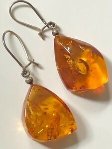 Vintage sterling silver '925' and baltic amber droplet dangly drop earrings boho