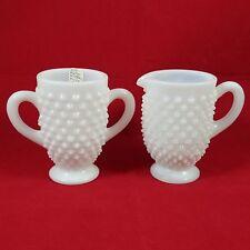 ic Vintage Fenton Hobnail Milk Glass Cream Sugar Bowl Set Embossed Hobnail 72