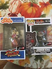 pop collectible and rock candy. its a tekken armor king, pink chun-li street f