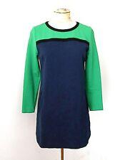 VGC Boden Emerald Green Navy Blue Colorblock Cotton Knit Babydoll Dress US 8P