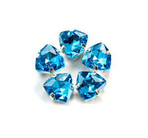 50pcs 12mm Sew On Settings Crystal Glass Rhinestone Fat triangle Jewels Button