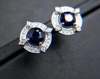 2Ct Round Cut Blue Sapphire Push Back Halo Stud Earrings 14K White Gold Finish
