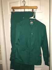 2 piece Womens Dickies Medical Scrub Jacket & Wonder Wink Pants Size Xs Green