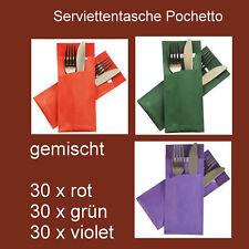 Bestecktasche/Serviettentasche Pochetto 30 x rot + 30 x grün + 30 x violet
