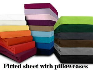 Cotton Blend Single Double Queen King Fitted Sheet Pillowcases Set