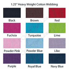 """5 Yards 1.25"""" Heavy Weight Cotton Webbing - 23 Colors to Choose - Mix and Match"""